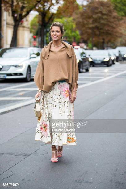 Helena Bordon is seen before the Valentino show during Paris Fashion Week Womenswear SS18 on October 1 2017 in Paris France