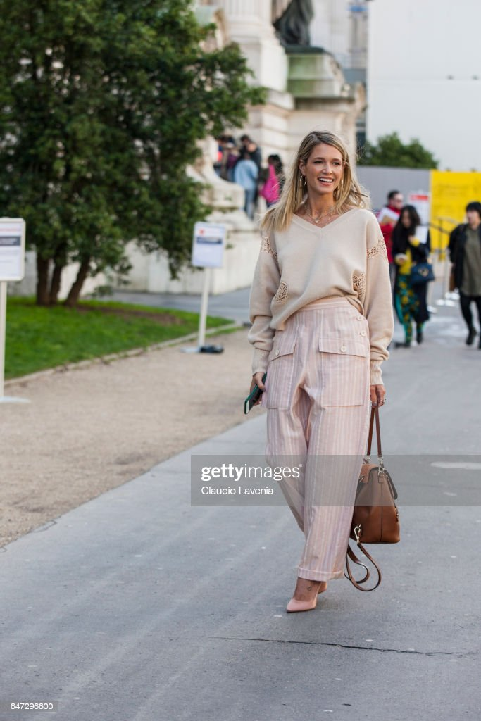 Helena Bordon is seen in the streets of Paris before the Chloe show during Paris Fashion Week Womenswear Fall/Winter 2017/2018 on March 2, 2017 in Paris, France.