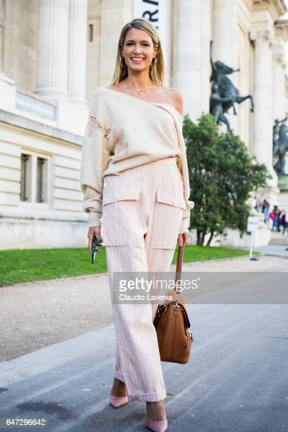 Helena Bordon is seen in the streets of Paris before the Chloe show during Paris Fashion Week Womenswear Fall/Winter 2017/2018 on March 2 2017 in...