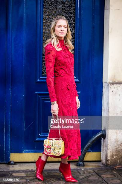 Helena Bordon is seen in the streets of Paris before the Valentino show during Paris Fashion Week Womenswear Fall/Winter 2017/2018 on March 5, 2017...