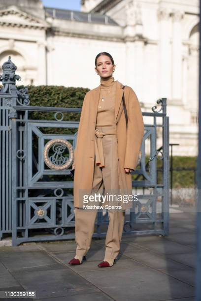 Helena Bordon is seen on the street during London Fashion Week February 2019 wearing Victoria Beckham on February 17, 2019 in London, England.