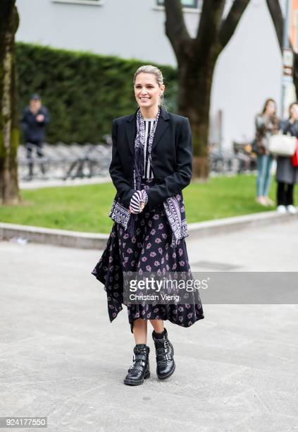 Helena Bordon is seen outside Armani during Milan Fashion Week Fall/Winter 2018/19 on February 25 2018 in Milan Italy