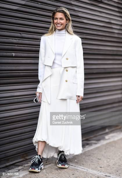 Helena Bordon is seen wearing a Phillip Lim outfit outside the 31 Phillip Lim show during New York Fashion Week Women's A/W 2018 on February 12 2018...