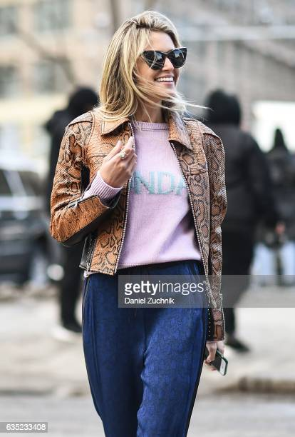 Helena Bordon is seen wearing a snake skin leather jacket outside of the 31 Phillip Lim show during New York Fashion Week Women's Fall/Winter 2017 on...