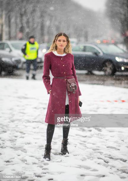 Helena Bordon is seen wearing bordeaux coat Chanel belt bag outside Chanel during Haute Couture Spring Summer 2019 Day Two on January 22 2019 in...