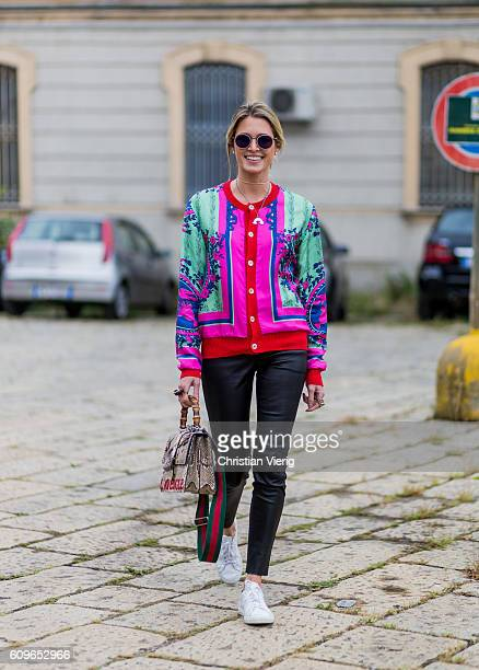Helena Bordon is wearing leather pants Gucci bag and jacket is seen outside Gucci during Milan Fashion Week Spring/Summer 2017 on September 21 2016...
