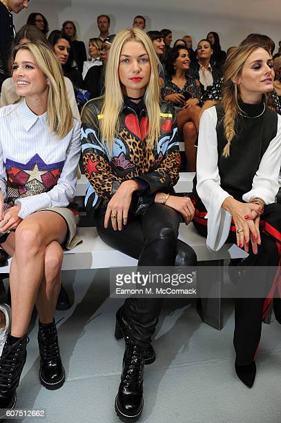 Helena Bordon Jessica Hart and Olivia Palermo attend the Mary Katrantzou show during London Fashion Week Spring/Summer collections 2017 on September...