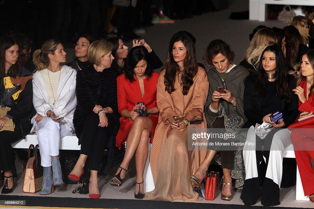 Helena Bordon, Leigh Lezark, Christina Pitanguy attend the Giambattista Valli show as part of the Paris Fashion Week Womenswear Fall/Winter 2015/2016 on March 9, 2015 in Paris, France.