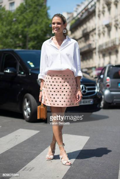 Helena Bordon poses after the Elie Saab show at the Pavillion Cambon during Paris Fashion Week Haute Couture FW 17/18 on July 5 2017 in Paris France