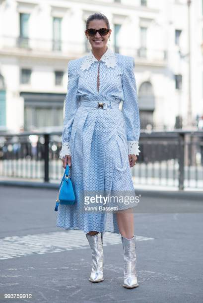Helena Bordon poses after the Fendi Couture show at the Palais Brongniart during Paris Fashion Week Haute Couture FW18 on July 4 2018 in Paris France