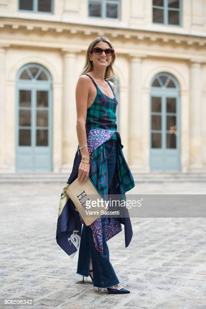 Helena Bordon poses after the Schiaparelli show at Place Vendome during Paris Fashion Week Haute Couture FW 17/18 on July 3, 2017 in Paris, France.