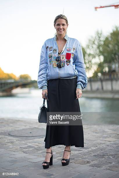 Helena Bordon poses before the Paul and Joe show at Les Nautes during Paris Fashion Week SS17 on October 4 2016 in Paris France