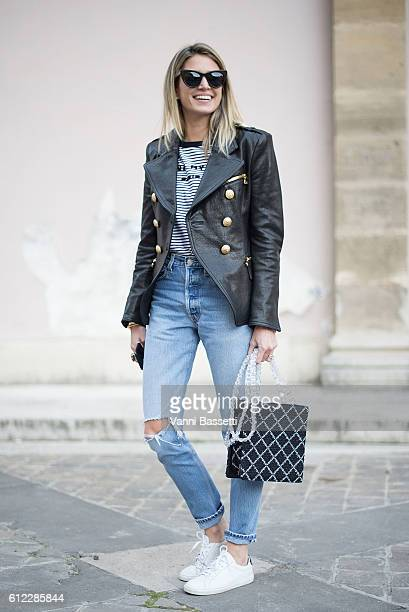 Helena Bordon poses wearing a Balmain jacket and a Sonia Rykiel tshirt after the Sonia Rykiel show at the Ecole des Beaux Arts during Paris Fashion...