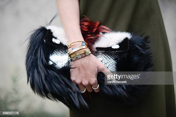 Helena Bordon poses wearing a Vionnet dress and Fendi bag on September 24 2014 in Paris France