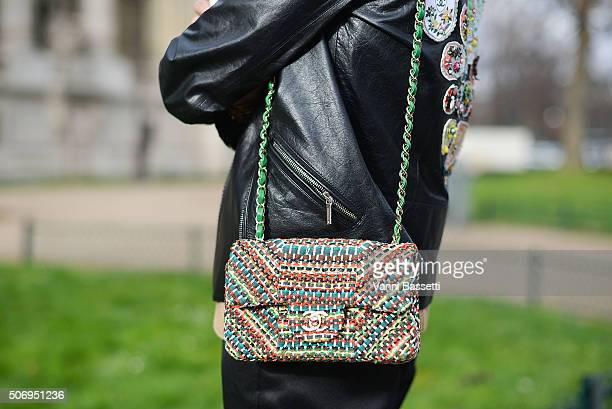 Helena Bordon poses wearing Chanel before the Chanel show at the Grand Palais during Haute Couture on January 26 2016 in Paris France