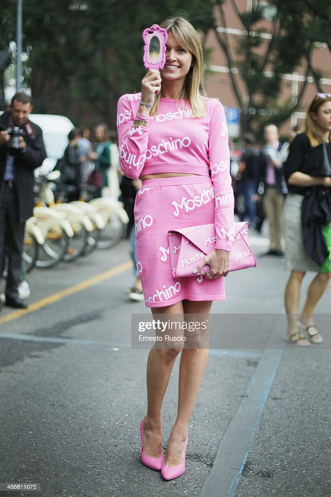 Helena Bordon poses wearing Moschino total look during the Armani fashion Show as a part of Milan Fashion Week Womenswear Spring/Summer 2015 on September 20, 2014 in Milan, Italy.