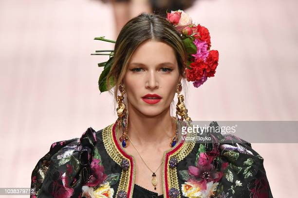 Helena Bordon walks the runway at the Dolce Gabbana show during Milan Fashion Week Spring/Summer 2019 on September 23 2018 in Milan Italy