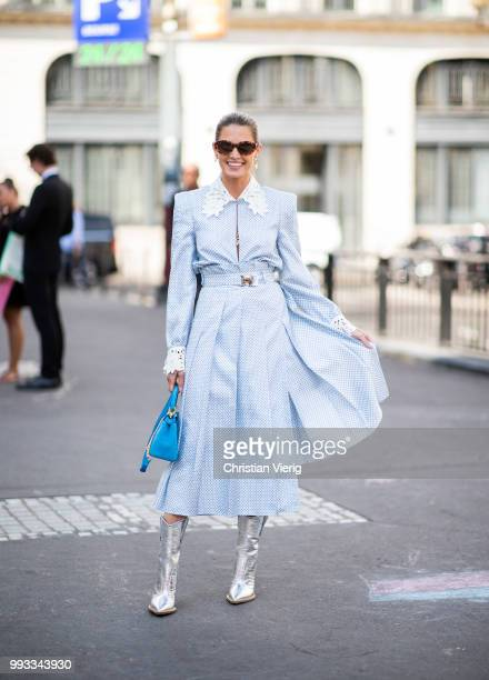 Helena Bordon wearaing blue dress Fendi velvet bag silver boots seen outside Fendi Couture on day four during Paris Fashion Week Haute Couture FW18...