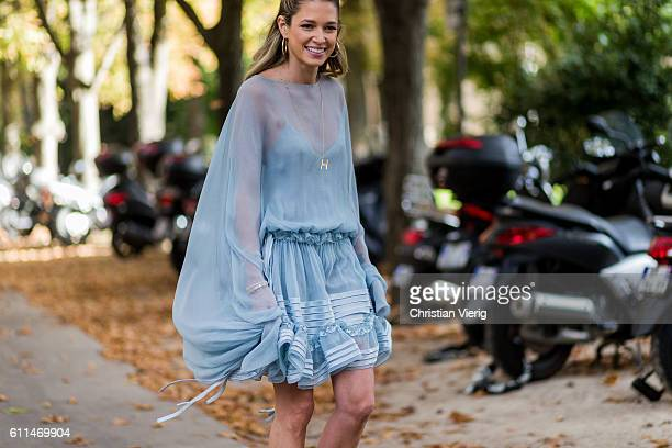 Helena Bordon wearing a baby blue dress and heels outside Chloe on September 29 2016 in Paris France