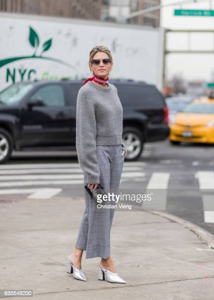 Helena Bordon wearing a grey knit grey cropped pants outside Michael Kors on February 15 2017 in New York City