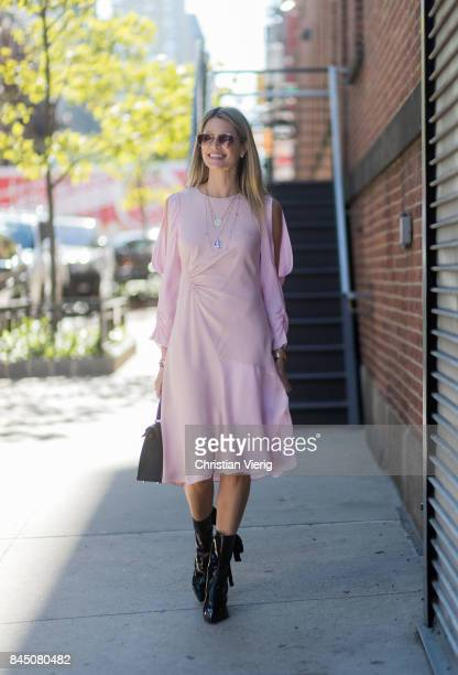 Helena Bordon wearing a pink dress seen in the streets of Manhattan outside SelfPortrait during New York Fashion Week on September 9 2017 in New York...