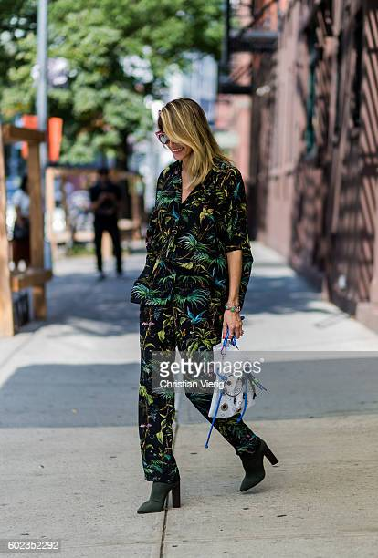 Helena Bordon wearing a suit with floral print outside Tibi on September 10 2016 in New York City