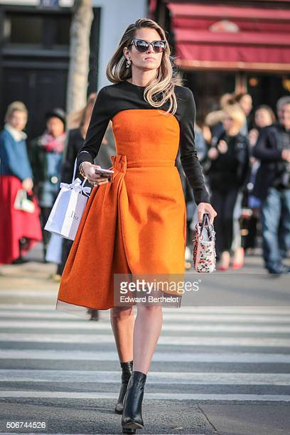 Helena Bordon wearing Dior after the Dior show during Paris Fashion Week Haute Couture Spring Summer 16 on January 25 2016 in Paris France