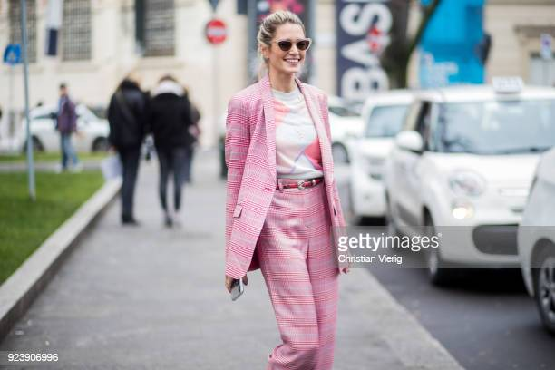 Helena Bordon wearing pink suit seen outside Armani during Milan Fashion Week Fall/Winter 2018/19 on February 24 2018 in Milan Italy