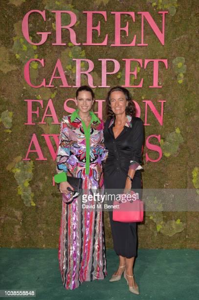 Helena Bordon, wearing Pucci, and Laudomia Pucci attend The Green Carpet Fashion Awards Italia 2018 at Teatro Alla Scala on September 23, 2018 in...
