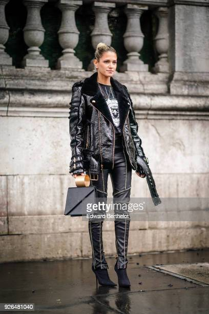 Helena Bordon wears a black leather aviator jacket black leather pants a bag outside Balmain during Paris Fashion Week Womenswear Fall/Winter...