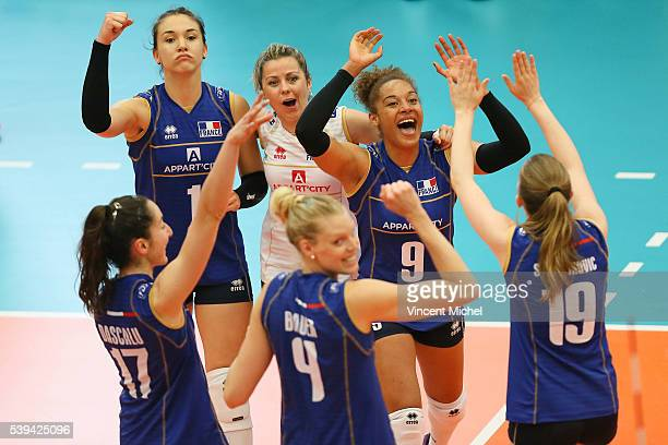 Helena Cazaute Alexandra Rochelle and Elisabeth Fedele of France during the CEV European League match at Salle Colette Besson on June 11 2016 in...