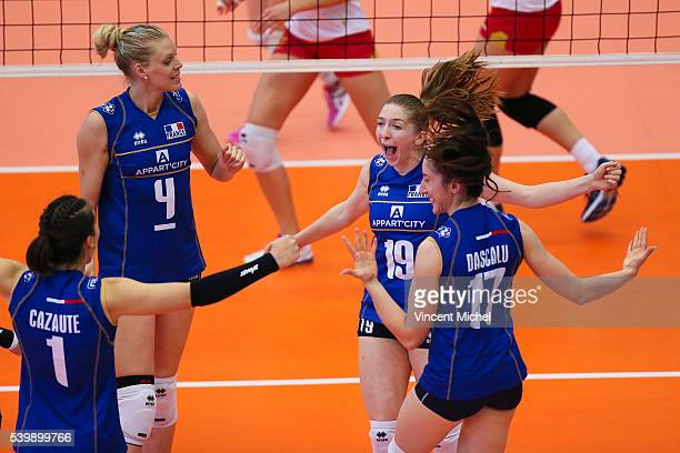 Helena Cazaute Christina Bauer Nina Stojilkovic and Alexandra Dascalu of France during the CEV European League match at Salle Colette Besson on June...