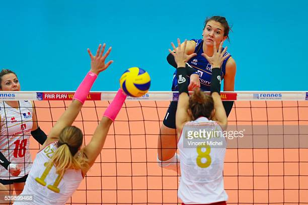 Helena Cazaute of France during the CEV European League match at Salle Colette Besson on June 11 2016 in Rennes France