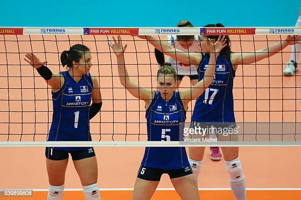 Helena Cazaute Pauline Martin and Alexandra Dascalu of France during the CEV European League match at Salle Colette Besson on June 11 2016 in Rennes...