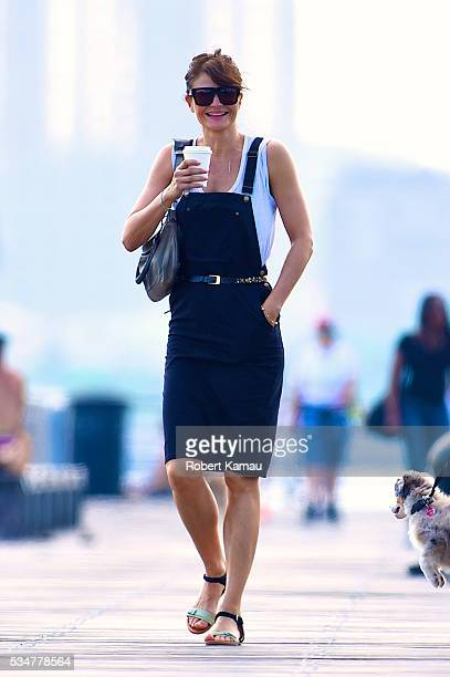 Helena Christensen and her friend take Kuma her dog for a walk on May 27 2016 in New York City