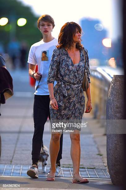 Helena Christensen and her son Mingus Reedus are seen out with their dog Kuma on May 25 2016 in New York City