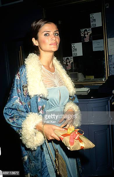 Helena Christensen arrives at a Eva Herzigova Birthday Party at Les Bains Douches in the 1990s in Paris France