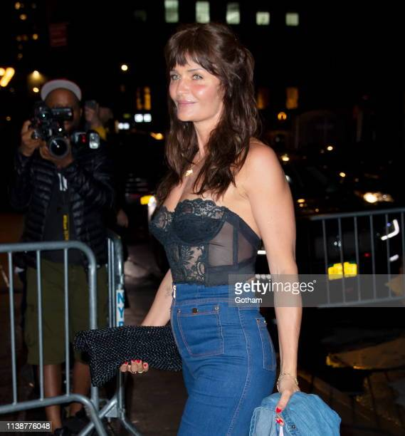 Helena Christensen arrives at Gigi Hadid's birthday party at Chalet on April 22 2019 in New York City