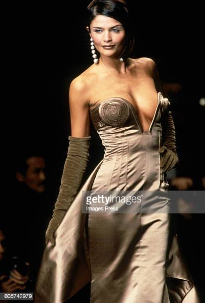 Helena Christensen at the Valentino Fall 1995 show circa 1995 in Paris, France.