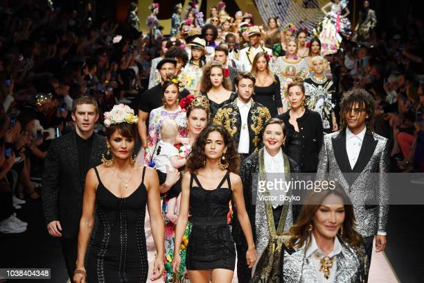 Helena Christensen Chiara Scelsi Isabella Rossellini and Roberto Rossellini walk the runway at the Dolce Gabbana show during Milan Fashion Week...