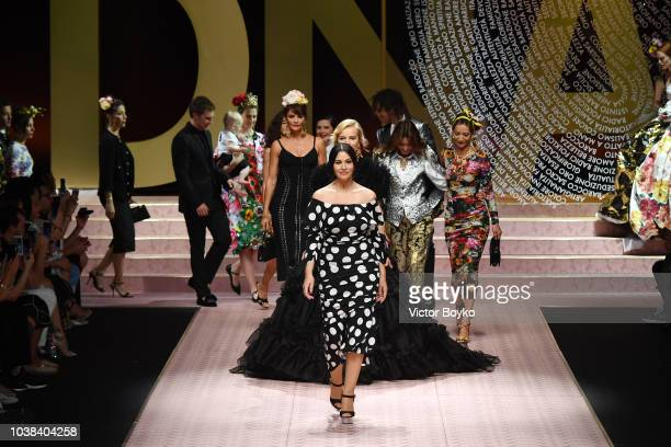 Helena Christensen Chiara Scelsi Monica Bellucci and Marpesa walk the runway at the Dolce Gabbana show during Milan Fashion Week Spring/Summer 2019...