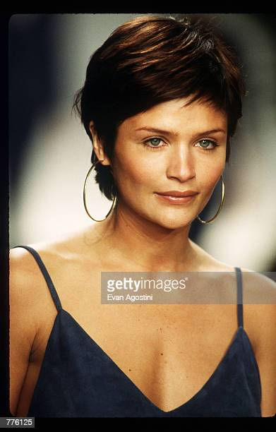 Helena Christensen models clothing from the Ralph Lauren Spring 97 collection at the 7th on Sixth Fashion Show October 30 1996 in New York City Ralph...