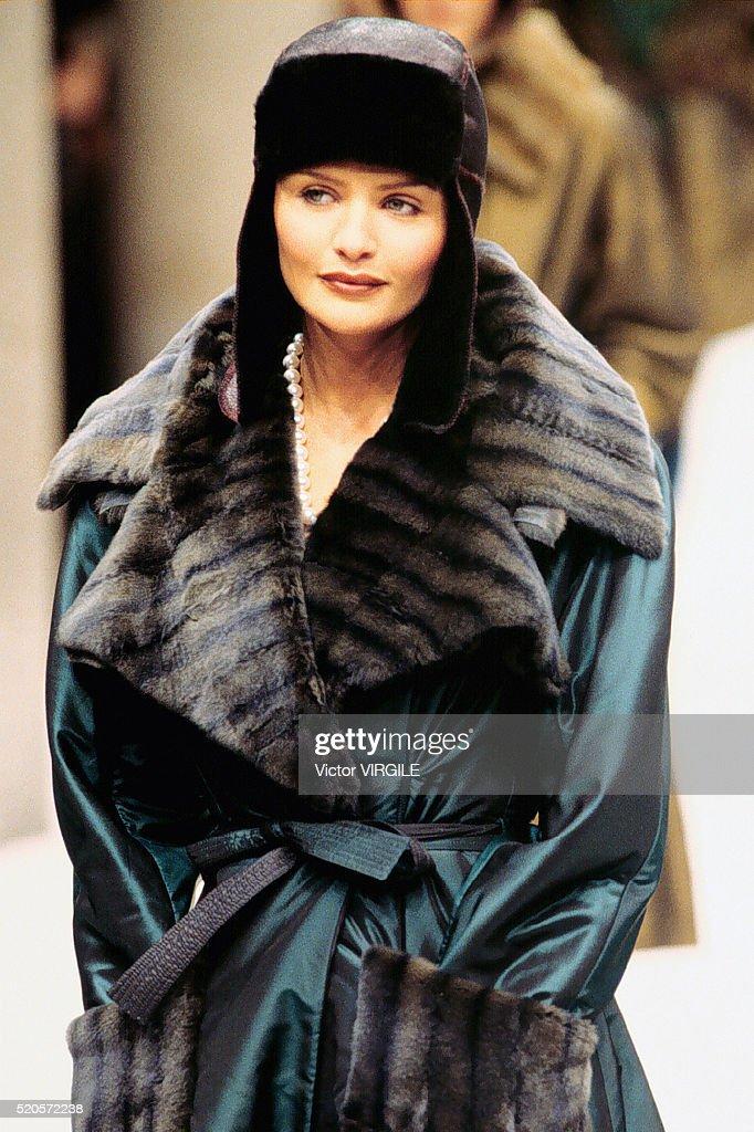 1996 Fendi Furs Fashion Magazine Print Ad: Helena Christensen Walks The Runway During The Fendi Ready