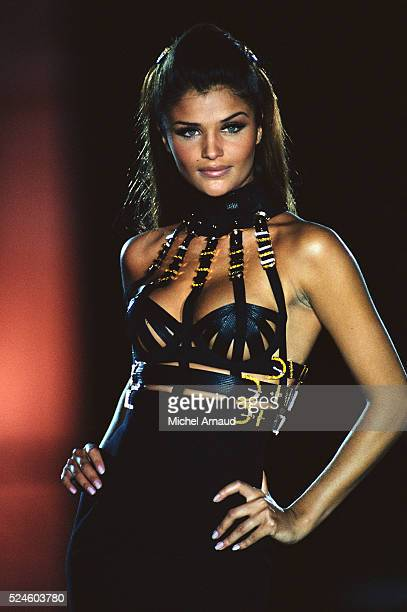Helena Christiansen Modeling Versace Outfit