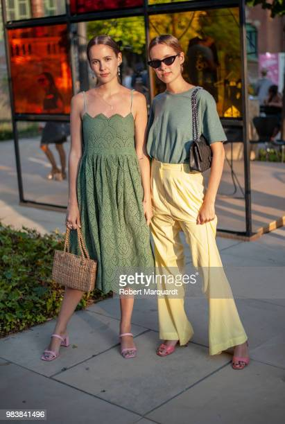 Helena Cuesta and Lucia Cuesta outside the TCN fashion show during 080 Barcelona Fashion Week 2018 on June 25, 2018 in Barcelona, Spain.