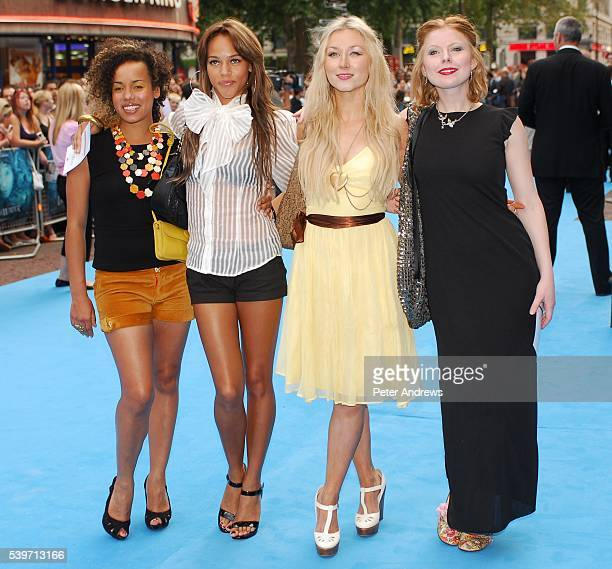 Helena Dowling Lauren Blake Hayley Wardle and Bryony Afferson of Girl Band Frank arrive at the European Premiere of Lady in the Water in London