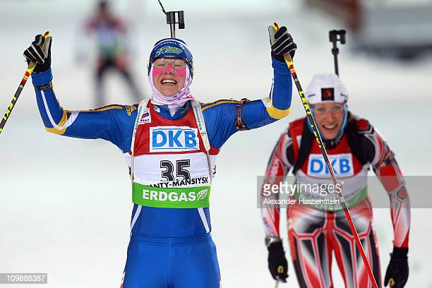 Helena Ekholm of Sweden reacts at the finish area after the women's 15km individual race during the IBU Biathlon World Championships at A.V....