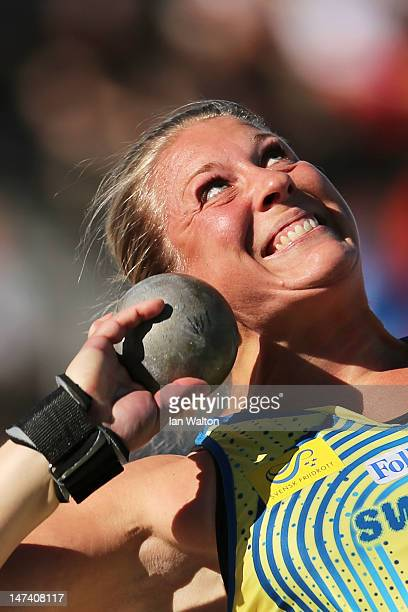 Helena Engman of Sweden competes during the Women's Shot Put Final during day three of the 21st European Athletics Championships at the Olympic...