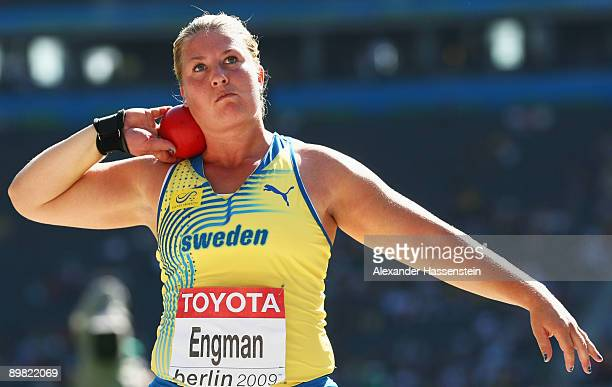 Helena Engman of Sweden competes in the women's Shot Put Qualification during day two of the 12th IAAF World Athletics Championships at the Olympic...