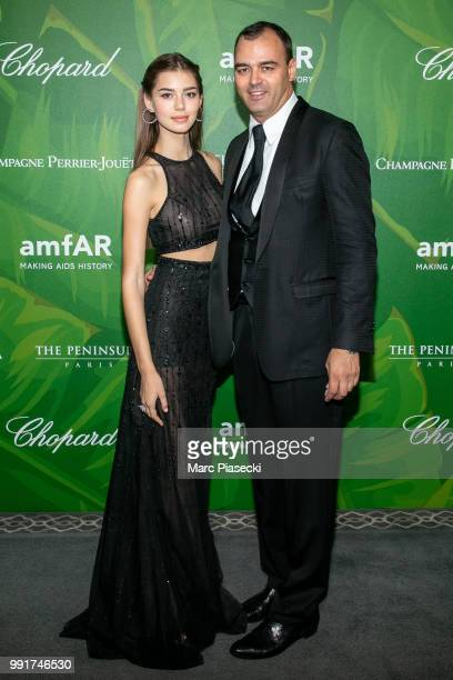 Helena Gatsby and Milutin Gatsby attend the amfAR Paris Dinner 2018 at The Peninsula Hotel on July 4 2018 in Paris France